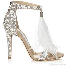 f38b4b6fd7d 2018 Hot Crystal Embellished White Feather Fringed Rhinestone High Heels  Sandals Bridal Wedding Shoes Women Ladies Stiletto Pumps