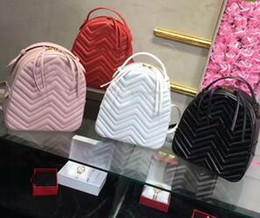 Wholesale Leather Backpack White Women - Fashion Bags Luxury Fashion Bags Women Bag Backpack Lady Brand Zig Zag Handbags Bags Totes 26 CM