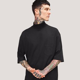 Wholesale Oversized Collar Shirt - Spring Summer Vintage T shirt Men New Streetwear High Neck Short Sleeve Pocket Tees White Black Oversized Skateboards Tops JZH0203