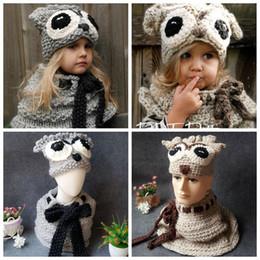 Wholesale hood set - Kids Warm Owl Hats Scarf Set Knitted Girls Cartoon Coif Hood Shawl Winter Beanies 2pcs set OOA4118