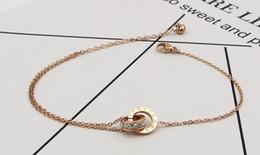 Wholesale Gold Titanium Anklet - Korean version of Roman numerals double ring titanium steel rose gold anklet bracelet tide female fashion ultra flash color gold jewelry