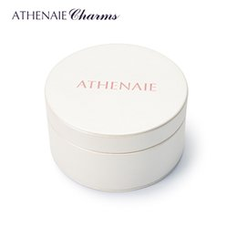 Wholesale Round Box For Ring - ATHENAIE High Quality Round White PU Gift Box for Necklace Bracelet & Bangles Earrings Charms Beads Jewelry Packaging
