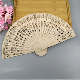 Wholesale Carved Wood Hands - Personalized silk screen wedding favors wood fan Chinese carved folding fragrance wood hand fan wedding fan