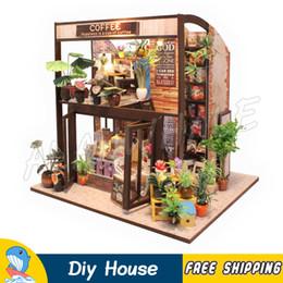 Canada Miniature Maison de Poupée Ville Café Bar Boutique DIY En Bois Dollhouse Avec Meubles Adolescent Adulte Jouets Modèle Bâtiment Cadeaux Ensembles supplier adult shop dolls Offre