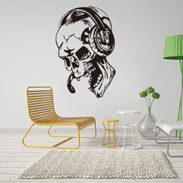 Wholesale free music stickers - Hot Skull Listening Music Wall Stickers Mural Personality Home Decoration For Bedroom Living Room Free shipping