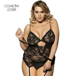Comeonlover Solid Color Erotic Teddy Vest + Garter + G-String + Handcuffs Lace Sleepwear Plus Size Babydoll RT7600 Sexy Lingerie D18110801 ? partir de fabricateur