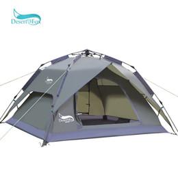 2019 barraca de raposa DesertFox Automático 3-4 Pessoa Barraca de Acampamento Grande Espaço Duplo Função À Prova D 'Água Sun Shelter Bolsa Tenda de Viagem barraca de raposa barato
