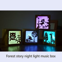 Wholesale led novelty light hands - Led Novelty Lighting Woodiness Forest Story Nightlight Hand Music Box Totoro Wood Music Box Children Used To Bed Night Lights