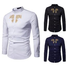 Longs bestickte polo online-Gestickte T-Shirts Mode Polo-Shirts Männer neue T-Shirt Baumwollmischung Sommer Mens Shirt Persönlichkeit Button Polos Langarm Man Kleidung