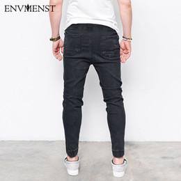 2019 hip hop meio lavagem jeans Médio Envmenst Moda Masculina Harem Jeans Lavados Pés Shinny Denim Calças Hip Hop Sportswear Cintura Elástica Corredores Calças hip hop meio lavagem jeans barato
