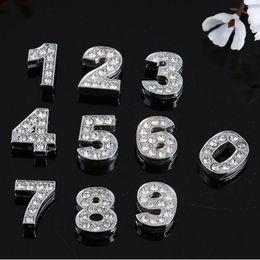 Números deslizantes de strass on-line-Instock Liquidação 200 Pçs / lote DIY Slide Números 0-9 Com Encantos De Strass Para 8mm pulseira pulseira de couro DIY