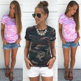 Wholesale female camouflage clothing - Summer Casual Women T Shirt O Neck Short Sleeve Printed Camouflage Shirt Cotton Women Clothing Female Maternity tops