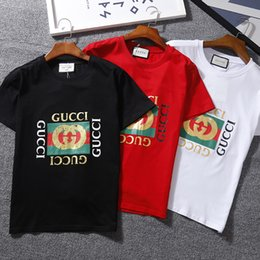 Wholesale Champions Brand - NEW Famous brand GUCC tee shirt summer KANYE short sleeved mens designer COTTON T-SHIRT fear god A+++ off champions white