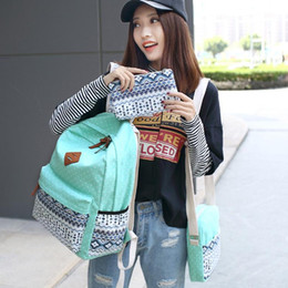 Wholesale colorful canvas backpacks - Women Laptop Bags Designer Backpacks Cute Lightweight Canvas Shoulder Bag Female Student Stripes Style Colorful School Backpack