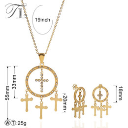 Wholesale Earing Set Crystal - TL Hollow Circle Cross Necklace and Earing Set Crystal Necklace Sets for Women Fancy Rhinestone Earrings Costume Jewelry Sets