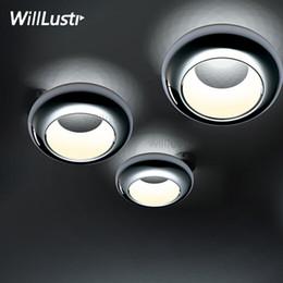plafones de cobre Rebajas Noovo aura LED lámpara de techo moderna UFO luz de techo cromo cobre negro blanco iluminación de techo hogar comedor hotel restaurante tienda lámpara