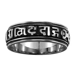 Wholesale China Amulet - Vintage Stainless Steel Mantra Amulet Spinner Rings Men Tibetan Buddhism Jewelry Buddha Ring