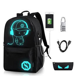 Schwarze jungenschultaschen online-Anime Luminous Schüler-Schule-Beutel-Schule-Rucksack für Junge Mädchen Daypack Multifunktions-USB-Ladeanschluss und Lock-Beutel-Schwarz