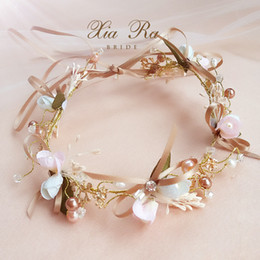wedding hair accessories flower girl Coupons - Bridal flower crown handmade girls colorful pearls rhinestones princess wreath boutique children ribbon Bows wedding hair accessories YA0329