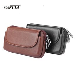 Wholesale High End Mobile Phone Cases - Genuine Leather Waist Packs For Men Leather Cigarette Purse High-end belt Bag Casual Wallet Mobile Phone Pouch Cover Case Coque