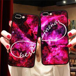 Mela cellulare online-Universe Outer Space Infinity Matching Coppia Custodia BFF Cover per iPhone X 8 5S 6S 7 Plus Lover Best Friend Custodia per sempre Capinha de Celular