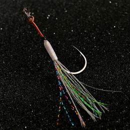 faldas de plantilla Rebajas No. 13 14 15 Aparejo de acero de alto carbono con un solo gancho Señuelos Jigging Falda Night Glow Assist Hooks Pesca de agua salada Barco de agua de mar