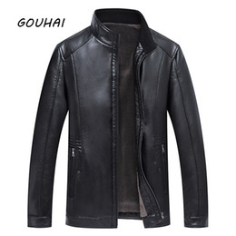 Wholesale Leather Jacket Wool Collar Men - Stand Collar Plus Size Business Leather Jacket Men Motorcycle Jacket 2018 Casual Warm Autumn Winter Solid Leather Mens