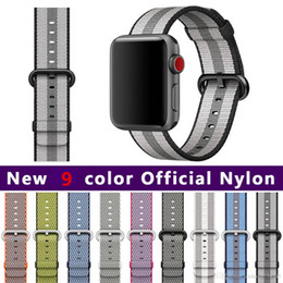 Wholesale Colour Weave - Woven Nylon Fabric Buckle Watchband Strap Band for Apple Watch Serise 3 2 1 iwatch 42mm 38mm New 9 Colour Nylon Wrist Band watch Accessories