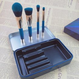 Pony-make-up online-Neuer PONY EFFECT Der blaue limitierte MINI MAGNETIC PINSEL SET mit Metallbox Beauty Makeup Brushes Blender