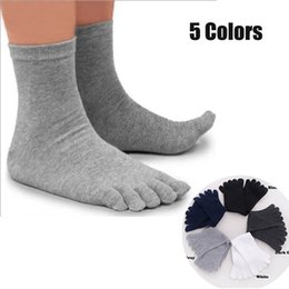 Оптовая продажа-5 пар / Лот сплошной белый черный серый мужчины носки бамбуковое волокно высокое качество мужские летние зимние хлопчатобумажные носки пять / 5 пальцев носки от