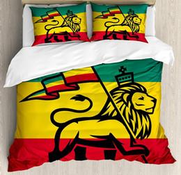 Ensembles de literie rouge jaune en Ligne-Ensemble de housse de couette Rasta Judah Lion avec un drapeau Rastafari King Thème de jungle Reggae Print Decor Ensemble de literie 4 pièces Vert Jaune Rouge