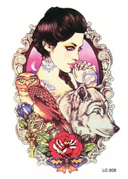 Wholesale Flower Rose Tattoos - Wholesale- LC2808 21*15cm Large Tattoo Sticker Sexy Girl Owl Wolf Designs Temporary Tattoo Rose Flower New Arrival 2015 Fashion