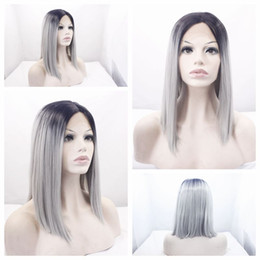 Wholesale Wig Gray Short - Whloesale Cheap Ombre Gray Short Bob Wigs Two Tones Short Straight Heat Resistant Glueless Synthetic Lace Front Wigs for Black Women