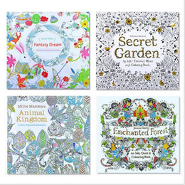Wholesale Toy Forest - Coloring Books 4 Designs Secret Garden Animal Kingdom Fantasy Dream and Enchanted Forest 24 Pages Kids Adult Painting puzzle toy learning