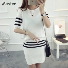 Wholesale Two Piece Pencil Skirt Set - Korean Fashion Women Knitted Tracksuit Half Sleeve Striped Knit Top and Skirt Set Summer Two Piece Short Pencil Skirt Set Outfit
