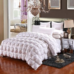 Wholesale Goose Quilts - Winter White Goose Down Comforter Warm Duvet Quilted Thicken Quilt Blanket 100% Cotton Outer Layer Bedding Twin King Queen
