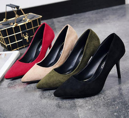 Wholesale Female Jobs - 2018 spring and autumn new women Korean suede high heels female fine pointed black professional job wild single shoes nightclub pumps