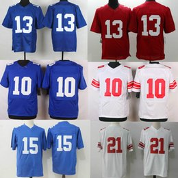 Wholesale Elite 13 - ePacket DHL Shipping Mens American Football #13 Game Elite Jersey Red Blue White Wholesale #10 #15 #21 Football Jerseys