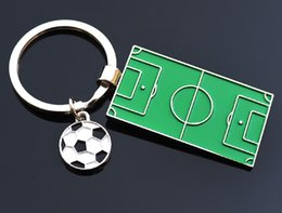 Wholesale Pendant Souvenir - 2018 Football Field Keychain World Cup Soccer Fans Souvenir Gift Football Players Pendants Keyrings Accessory Jewelry Rings Free DHL G763R