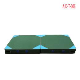 Wholesale Folding Yoga Mats - AJD-T-006 elastic green Oxford Waterproof cloth Folding Gymnastics Mat Gymnastics Floor Yoga Mat 1.2*0.6*0.1M
