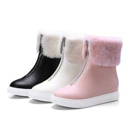 Wholesale mid calf rain boots - White Round Toe Winter Warm Plush Front Zipper Women Rain Boots Solid Mid-calf Snow Bottes Feminines Casual Botas Female Shoes