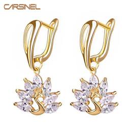 Wholesale Phoenix Color - Wholesale- CARSINEL Horse Eye Phoenix CZ Zircon Women Earrings Gold-color Jewelry Earrings for Female Hypoallergenic Bijouterie ER0113