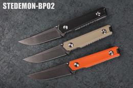 Wholesale Nice Camp - Nice Work Stedemon BP-02 Blackwash Knife Liner Folder 440C Knife Bearing Hot Sell Free Shipping
