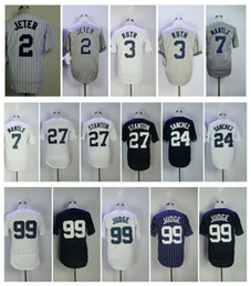 Wholesale New 27 - 99 Aaron Judge Men Jersey 27 Giancarlo Stanton 2 Derek Jeter 24 Gary Sanchez 7 Mickey Mantle 3 Babe Ruth New York Baseball Jerseys