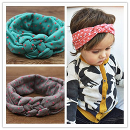 Wholesale Twist Braid Headband - kids girls dot braided top knot twisted turban headband elastic hair head bands wraps headbands accessories turbante wraps ML-28