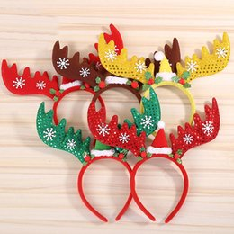 Wholesale figurine christmas - Christmas Decorations Christmas Antler Hair Bands Red Sequin Snowflake Non Woven Headband Holiday Party Birthday Party Supplies WX9-759