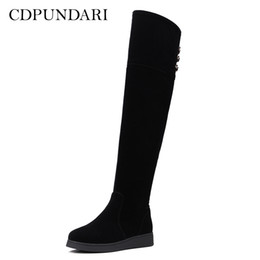 3e2bf9152e6 CDPUNDARI Black over the knee boots women thigh high boots Ladies Flat  Platform Winter shoes woman