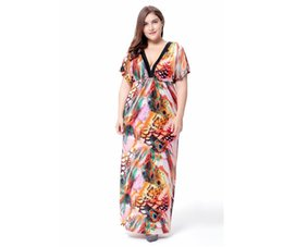 Wholesale Ice Silk Dresses Plus Size - Women's V Collar Beach Wrap Ice Silk Boho Printed Plus Size Short Sleeve Batwing Sleeve Long Dress