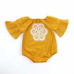 Wholesale crochet diapers - INS Baby lace crochet flowers rompers toddler kids lace embroidery falbala sleeve jumpsuits girls triangle climb clothing diaper Y6050