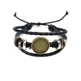 gli spazi vuoti della lunetta Sconti Monili di modo caldo fai da te multi strato braccialetto in pelle braccialetto in bianco base misura 20 millimetri rotonda foto in vetro cabochon impostazione castone vassoio creazione di gioielli